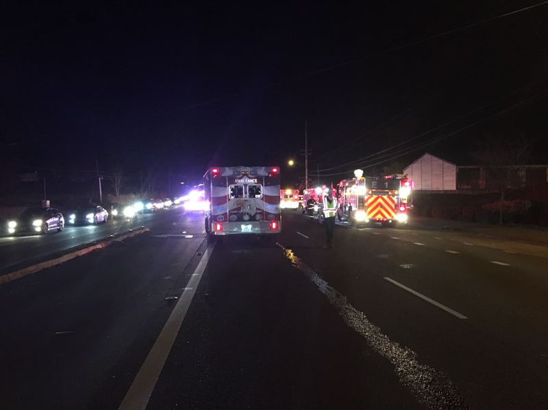 COURTESY PHOTO: CORNELIUS FIRE DEPARTMENT - Ambulances transported six crash victims from Highway 8 in between Hillsboro and Cornelius to trauma hospitals Saturday evening, according to the Cornelius Fire Department. One of the injured individuals later died.