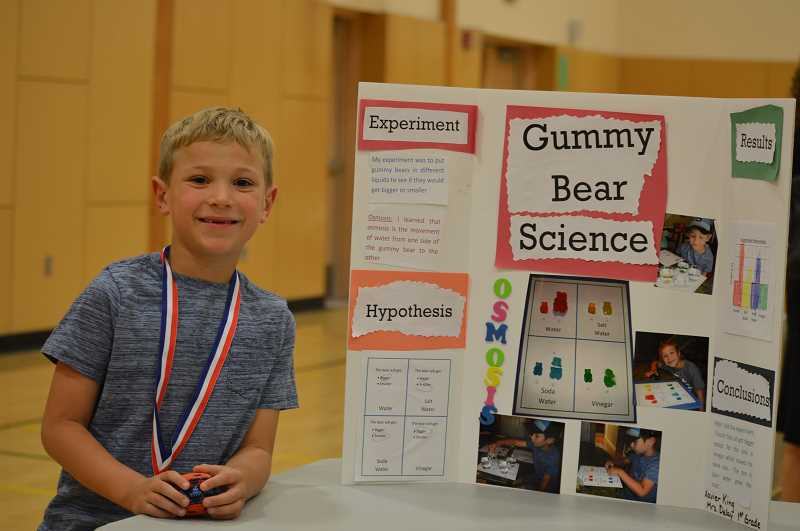 SPOKESMAN PHOTO: CLARA HOWELL  - Xavier King, 7, looked at how gummy bears absorbed water and he wanted to see if they got bigger when placed in water.