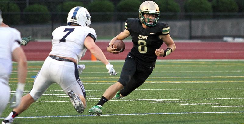 REVIEW FILE PHOTO - Jesuit senior quarterback Will Spitznagel will take his second shot at Lake Oswego this season when the Lakers and Crusaders meet at noon Friday at Hillsboro Stadium.