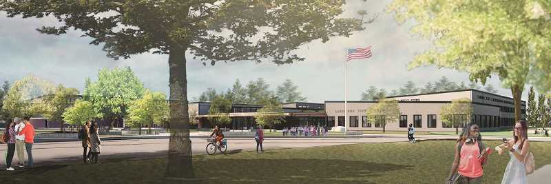 PHOTO COURTESY OF LAKE OSWEGO SCHOOL DISTRICT - An artist's rendering prepared by Mahlum Architects shows the front of the new Lakeridge Junior High School, as seen from Jean Road. The 141,000-square-foot school will have room for 1,100 students.
