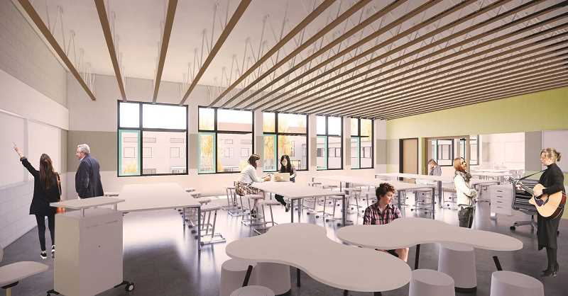 PHOTO COURTESY OF LAKE OSWEGO SCHOOL DISTRICT - An artist's rendering prepared by Mahlum Architects shows one of the new Lakeridge Junior High's learning studios, which were inspired by a goal to make every classroom a STEAM/Maker space. The extra-large footprints and flexible central spaces are deisgned to support innovative learning