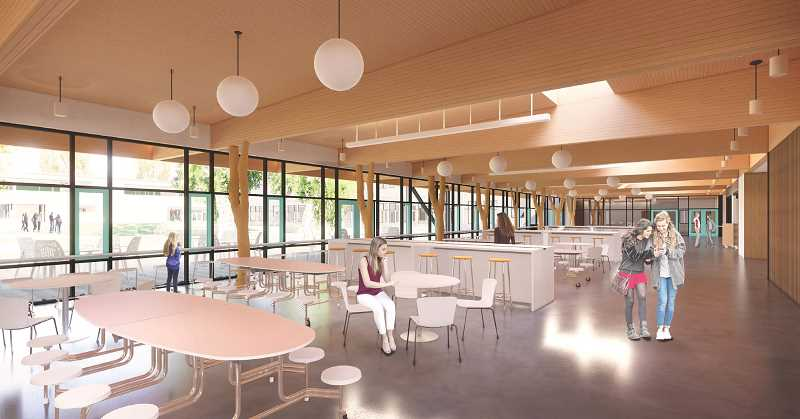PHOTO COURTESY OF LAKE OSWEGO SCHOOL DISTRICT - Mahlum Arichitects' concept for the new Lakeridge Junior Highs commons combines room for large-group gatherings during lunch and and performances with small-group areas like this for eating and learning.