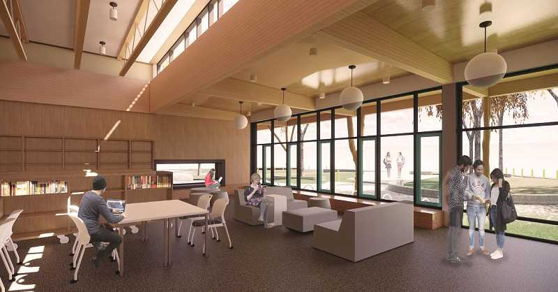 PHOTO COURTESY OF LAKE OSWEGO SCHOOL DISTRICT - For the new Lakeridge Junior High library, Mahlum Architects included a quiet reading area with book stacks and work tables. An adjacent area adds space for small-group work, independent research and presentations.