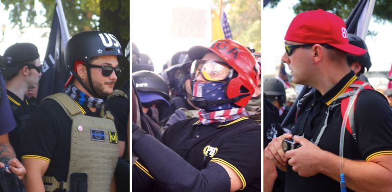 TRIBUNE PHOTOS: ZANE SPARLING - People wearing the Proud Boys uniform can been seen attending the Saturday, Aug. 4 waterfront protest in Portland.