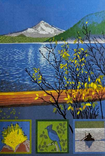 CONTRIBUTED PHOTO: SUE ALLEN - Sue Allen takes frequent inspiration from nature in pieces such as this one, which depicts Mt. Hood and Lost Lake.