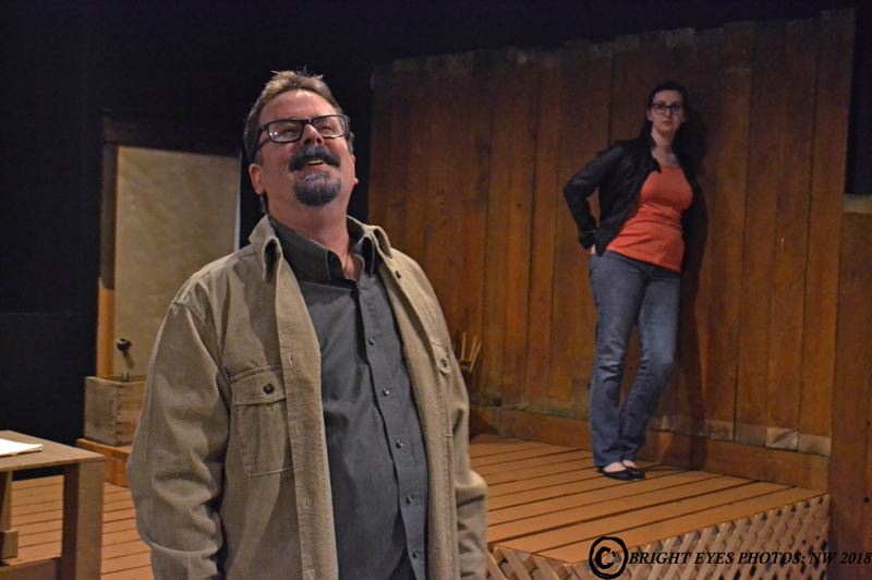 CONTRIBUTED PHOTO: BRIGHT EYES PHOTOS: NW - Catherine (played by Sharon Biermann) struggles to cope with the possibility that she's inherited more than genius from her father, Robert (played by Howard Bickle, Jr.).