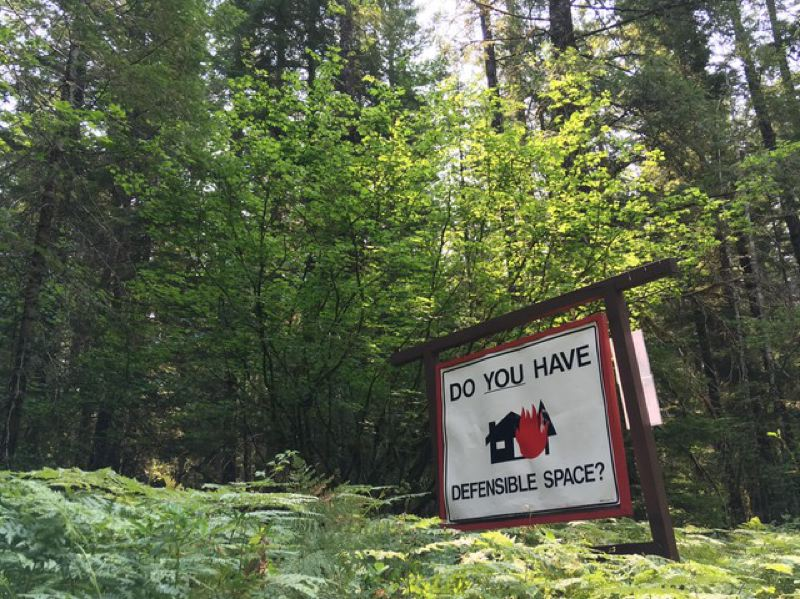 "COURTESY OF CASSANDRA PROFITA, OPB/EARTHFIX - A roadside reminder in southwest Washington's Gifford Pinchot National Forest that homes in the ""wildlands urban interface"" need special landscaping, building materials and maintenance to reduce the risk of being destroyed by a wildfire."