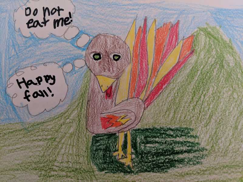 CONTRIBUTED PHOTO - This talking turkey was drawn by a young Estacada student.
