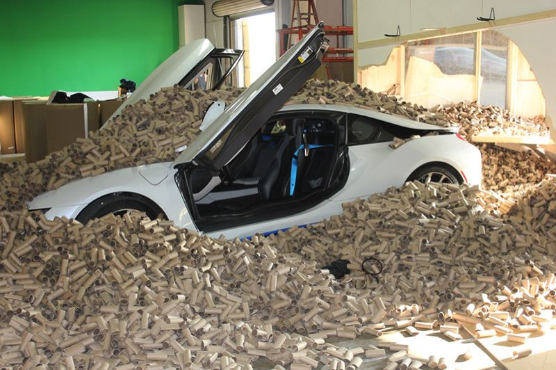 COURTESY EARTHTALK - YouTube stuntman Roman Atwood created a prank video where he drives a fast car into a pile of 66,000 toilet paper tubes — the amount Americans throw away every two minutes — to raise awareness for Scott's tube-free toilet paper.