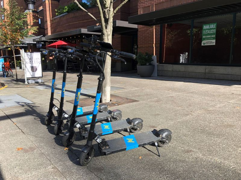 PAMPLIN MEDIA GROUP FILE PHOTO  - E-scooters line the sidewalk in Portland, available for short-term rentals. As of Nov. 20, the three companies operating a now-completed pilot project in the city will be removing their scooters, though it could take a few days.