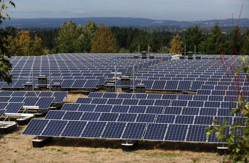 PAMPLIN MEDIA GROUP PHOTO: JONATHAN HOUSE - Solar panels sit atop of Sexton Mountain in Beaverton. A similar array is proposed near Verboort.