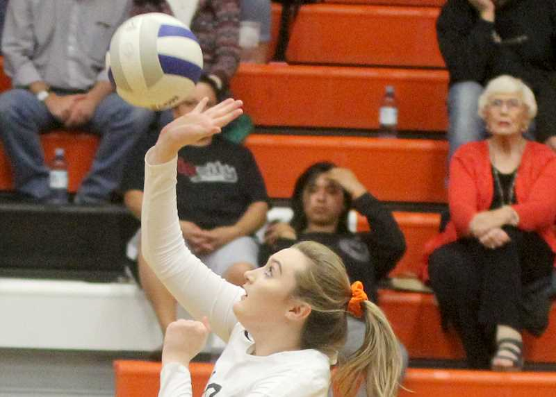 STEELE HAUGEN - Madison Miller tips a ball over the net. She earned first team for Culver.