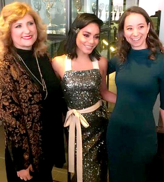 COURTESY PHOTO - Forest Grove's Megan Metzger, right, worked with writing partner Robin Bernheim, left, on 'The Princess Switch,' which stars Vanessa Hudgens, center.