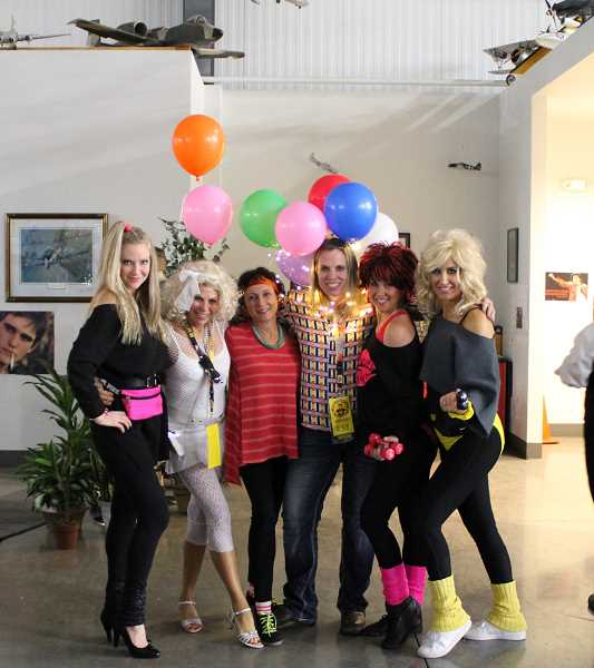 JENNIFFER GRANT/MADRAS PIONEER - Sporting Jazzercise and other 80s attire are, from left, Heidi Boyle, Marilyn Dewy, Linda Clowers, Michelle Rask, Angela Harris and Dee Poland.