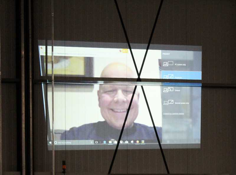 JENNIFFER GRANT/MADRAS PIONEER - Chuck Patterson joined the party via Face Time.