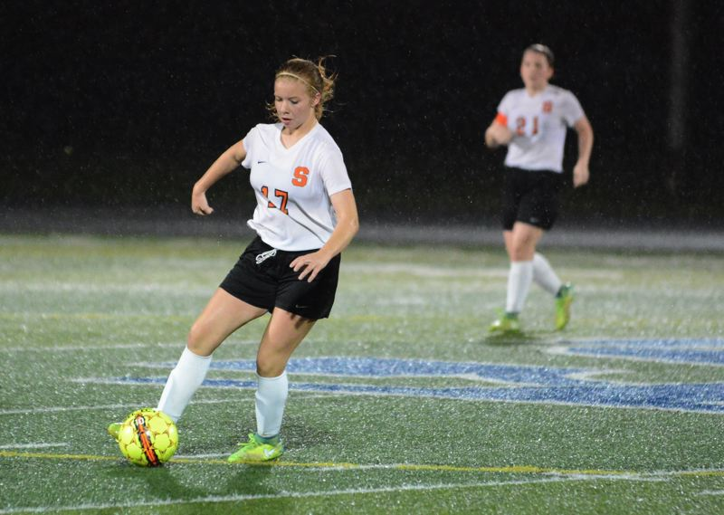 PAMPLIN MEDIA GROUP PHOTO: JIM BESEDA - All-Northwest Oregon Conference sophomore forward Tessa Davidson (17) helped Scappoose go 9-5-1 (5-5-1 in league) and rank sixth in Class 5A.
