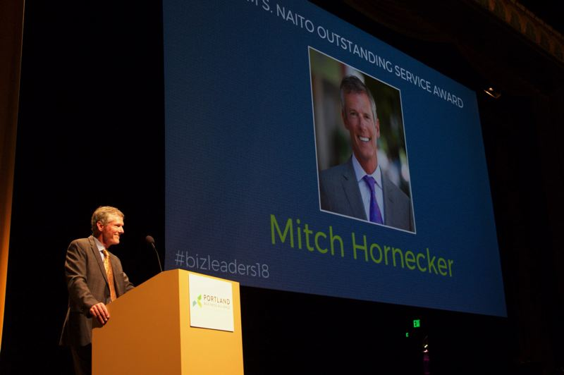 PAMPLIN MEDIA GROUP: FILE - The Portland Business Alliance honored Mitch Honecker during the groups 2018 Business Leadership Evening, held Nov. 14 at Portland Art Museum.