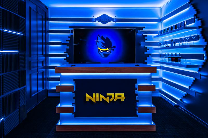 COURTESY: ROUNDHOUSE - Portland creative agency Roundhouse incorporated Tyler Blevins' Ninja logo and color scheme into a set worthy of cable television.