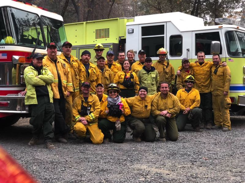 PHOTO COURTESY OF COLUMBIA RIVER FIRE AND RESCUE AND SCAPPOOSE FIRE DISTRICT - A task force of firefighters from Columbia County returned home this week after assisting with the Camp Fire for 10 days in California. Crews were assigned to work on firefighting activities, assist with search and rescue, help stranded victims and work to help lost and injured pets, among other duties.