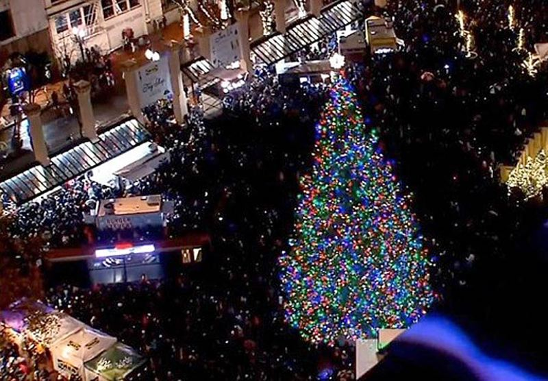 COURTESY PHOTO: KOIN NEWS 6 - Lights flashed on Friday evening, Nov. 23, signaling the annual holiday tradition of lighting the city's Christmas Tree in Pioneer Courthouse square.