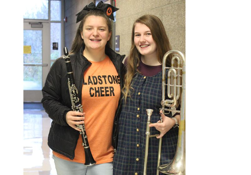 SUBMITTED PHOTO - Clarinetist Jordan Layton and trombone player Sadie Klaus qualified for the All Northwest Symphonic Band and will perform in February with the best high school musicians from five states.