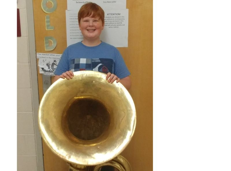 SUBMITTED PHOTO - Tuba player Braedon Akers was selected for the Oregon All State Honor Band.