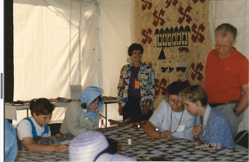 SUBMITTED PHOTO - Historian and project leader Mary Bywater Cross hosts the 1993 quilting at the End of the Oregon Trail in Oregon City.