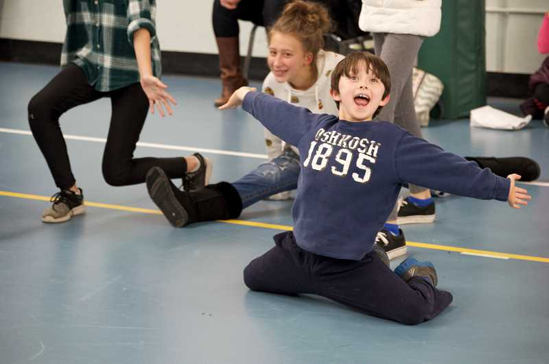 TIDINGS PHOTO: CLARA HOWELL  - Cedaroak Park Primary second-grader Raiden Ray strikes his ending pose at 'The Pied Piper' auditions.