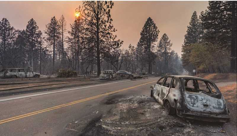 COURTESY PHOTO: JON KOENIG - Destruction in the wake of a blaze in Paradise, Calif., where a local crew with engine boss Jon Koenig and his crew, driver Scott Mateson and firefighters Joe Jacobucci and Brandon Madura were dispatched to on Nov. 9.