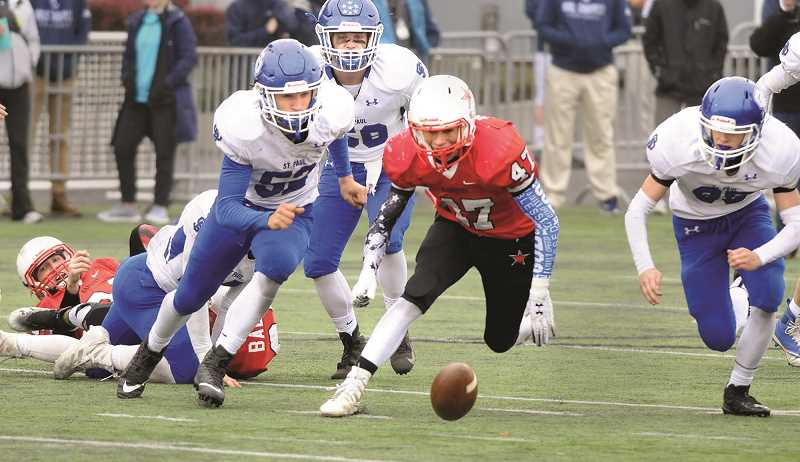 RYAN CLARKE - St. Paul's vaunted offense was held in check by the Dufur Rangers in the second half of the 2018 1A Football State Championship on Saturday. After scoring 32 points in the first half, the Bucks were held scoreless in the final two frames.