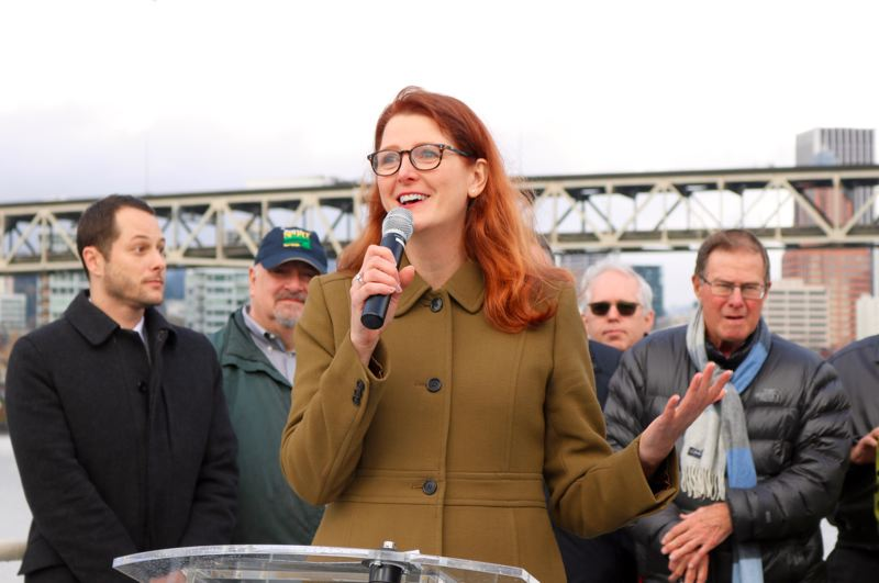 TRIBUNE PHOTO: ZANE SPARLING - Susan Bladholm, founder of the Frog Ferry proposal, speaks with the media onboard the Portland Spirit on Tuesday, Nov. 27.
