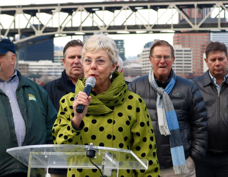 TRIBUNE PHOTO: ZANE SPARLING - Charlene Zidell, scion of a barge-building family seeking to develop its acreage on Portland's South Waterfront, is an enthusastic backer of the Frog Ferry proposal.
