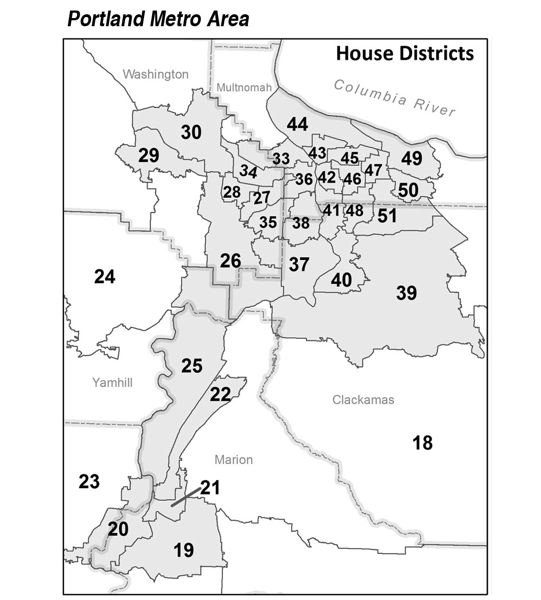COURTESY MAP: OREGON SECRETARY OF STATE'S OFFICE - An inset map shows the current Oregon House districts in and around Portland.
