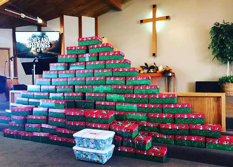 SUBMITTED PHOTO - Members of the Metolius Friends Church filled 110 shoeboxes for 'Operation Christmas Child.'