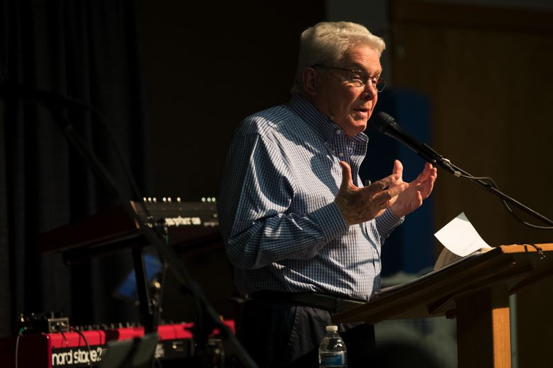 TIMES PHOTO: JAIME VALDEZ - Evangelist Luis Palau stopped touring in January when he was diagnosed with an aggressive form of cancer. But his health has improved and he spoke publically about the situation for the first time Tuesday in Beaverton.
