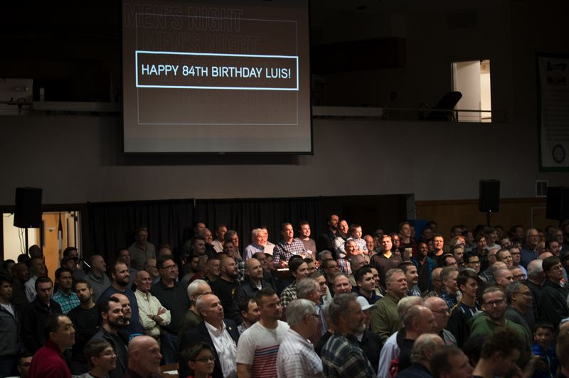 TIMES PHOTO: JAIME VALDEZ - A crowd gathers in Beaverton on Tuesday to hear Evangelist Luis Palau. This week marks his 84th birthday.