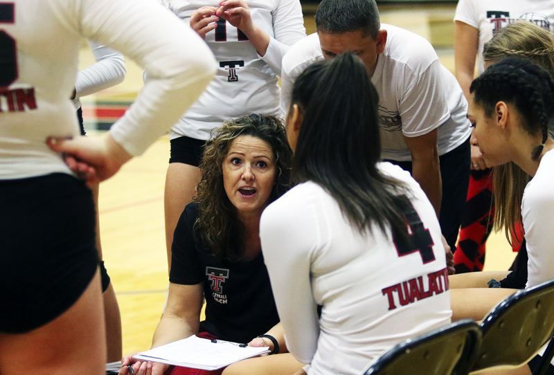 TIMES PHOTO: DAN BROOD - Tualatins Bridget Hinrichs was named the Three Rivers League volleyball Coach of the Year.