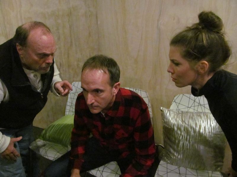 COURTESY: DICK TRTEK - In Asylum Theatre's first production, 'Speed-the-Plow,' Danny Bruno as Charlie Fox (left) and Briana Ratterman as Karen (right) try to convince ?Jason Maniccia as Bobby Gould to produce the play they want him to do.?
