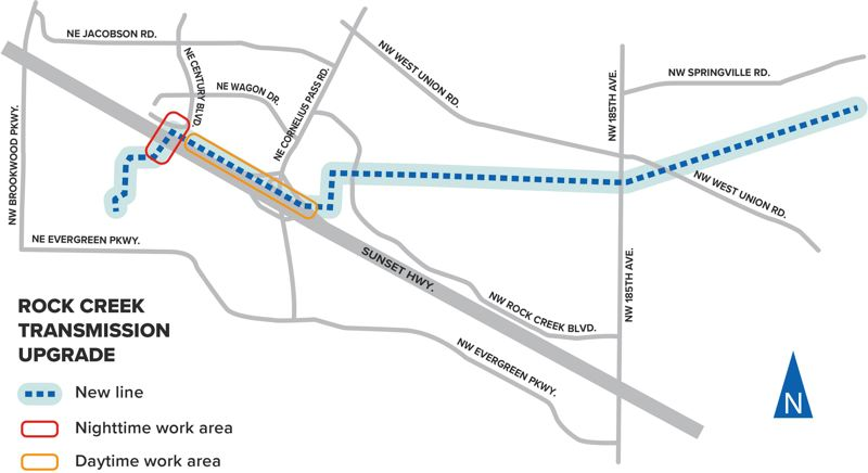 PHOTO COURTESY PGE - Lane closures during both night and day will begin this week on the Sunset Highway.