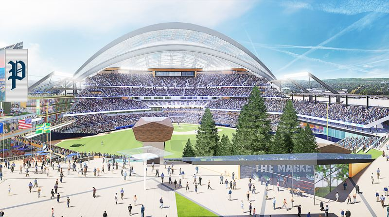 COURTESY: PORTLAND DIAMOND PARTNERS - Portland Diamond Partners has signed an agreement in principle with the Port of Portland to develop the 45-acre Terminal 2 site in Northwest Portland as a Major League Baseball ballpark.