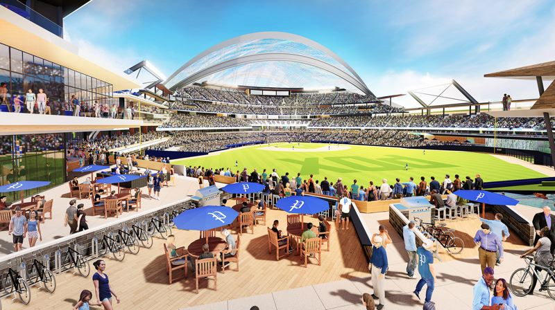 COURTESY: PORTLAND DIAMOND PARTNERS - Renderings released by Portland Diamond Partners for a Major League Ballpark show a retractable room and a 'bike tailgating' area.