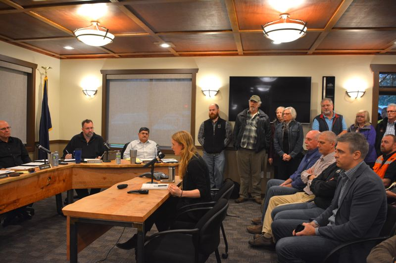 SPOTLIGHT PHOTO: COURTNEY VAUGHN - Jasmine Zimmer-Stucky of Columbia Riverkeeper addresses port commissioners during a meeting Wednesday, Nov. 28. Zimmer-Stucky was one of more than 60 people who attended the port meeting.