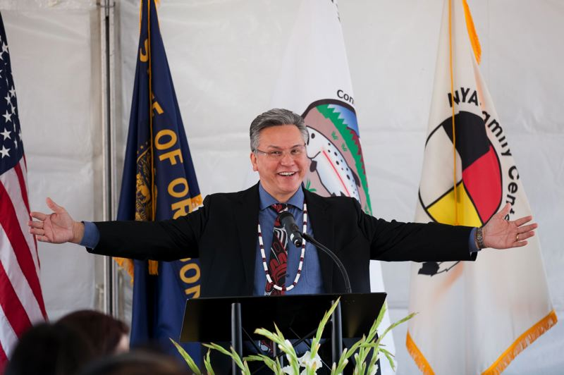PAMPLIN MEDIA GROUP: JAIME VALDEZ - Paul Lumley, executive director of the Native American Youth and Family Center, welcomes the crowd at the Nesika Illahee groundbreaking event on Nov. 20.
