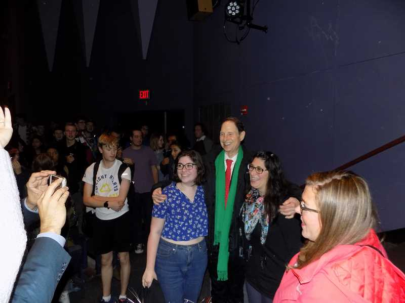 THE TIMES: RAY PITZ - Students and members of the community chatted and asked questions of U.S. Sen. Ron Wyden during a town hall appearance in the auditorium of Tualatin High school.