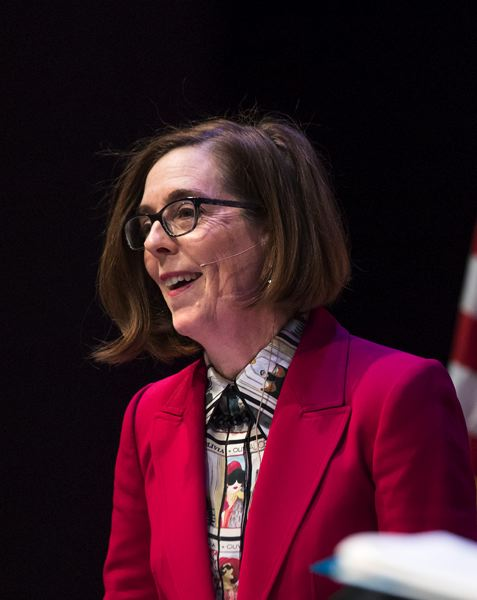 PORTLAND TRIBUNE: JON HOUSE - Kate Brown gives remarks during the 2018 Oregon Leadership Summit.