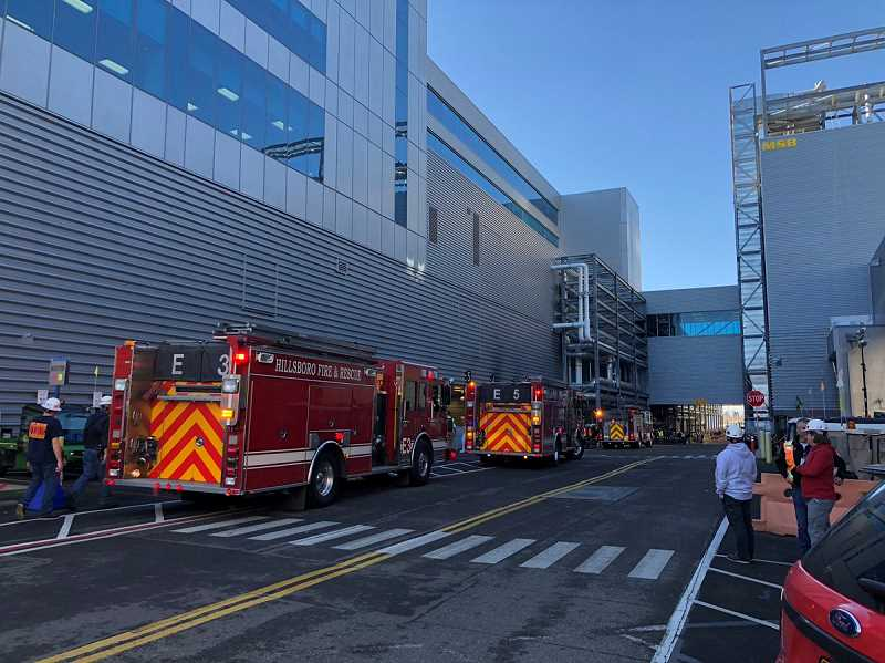 COURTESY HILLSBORO FIRE - Hillsboro firefighters respond to Intel's Ronler Acres campus Monday morning.