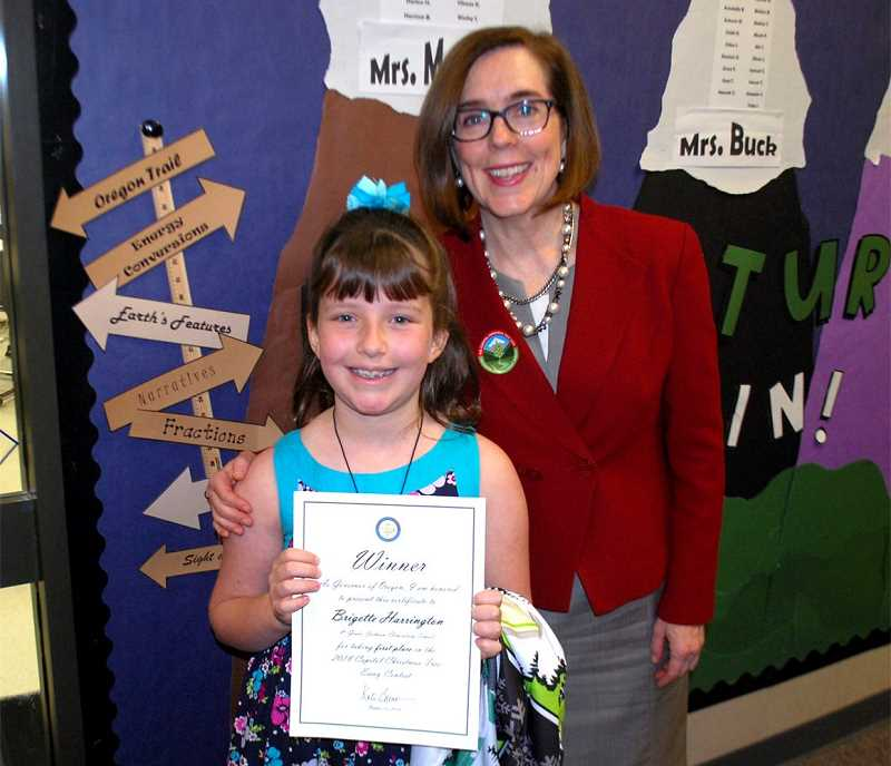 COURTESY HILLSBORO SCHOOL DISTRICT - Brigette Harrington poses for a photo with Oregon Gov. Kate Brown in October. Harrington will light the U.S. Capitol's Christmas tree this week in Washington, D.C.