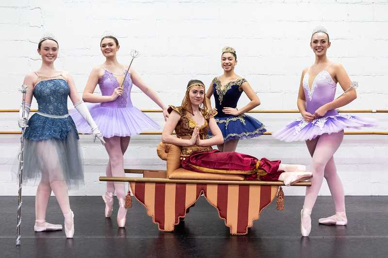 STAFF PHOTO: CHRISTOPHER OERTELL - High School seniors Sydney Coppedge, Kayla Brown, Kylee Bryant, Carmen Bruno and Alexy Kennedy all perform and star in Ballet Forest Grove's 'The Nutcracker.'