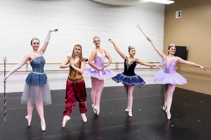 STAFF PHOTO: CHRISTOPHER OERTELL - Ballet Forest Grove dancers Sydney Coppedge, Kayla Brown, Kylee Bryant, Carmen Bruno and Alexy Kennedy have rehearsed since September to prepare for 'The Nutcracker.'