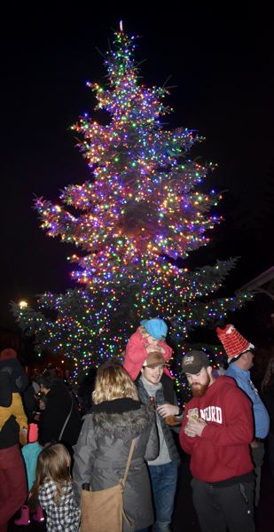 OUTLOOK PHOTO: MATT DEBOW - Fairviews Christmas Tree is lit for the first time.